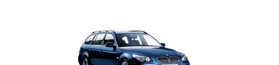 Prachtige BMW 520d touring in monacoblauw full option met grote navi, leder, parkeersensoren V+A,...